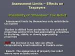 assessment limits effects on taxpayers