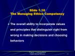 slide 1 10 the managing ethics competency