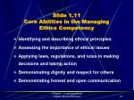 slide 1 11 core abilities in the managing ethics competency