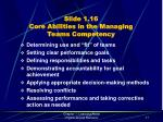 slide 1 16 core abilities in the managing teams competency