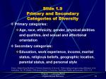 slide 1 9 primary and secondary categories of diversity