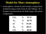 model for mars atmosphere