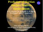 prediction of martian surface neutron environment