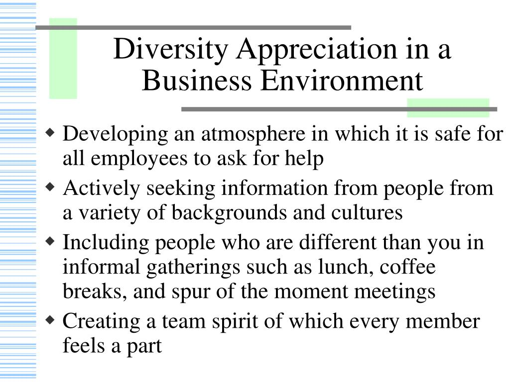 Diversity Appreciation in a Business Environment
