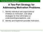 a two part strategy for addressing motivation problems