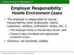 employer responsibility hostile environment cases