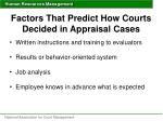 factors that predict how courts decided in appraisal cases