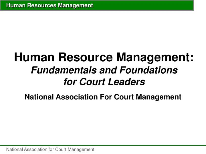 human resource management fundamentals and foundations for court leaders n.