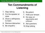 ten commandments of listening