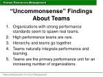 uncommonsense findings about teams