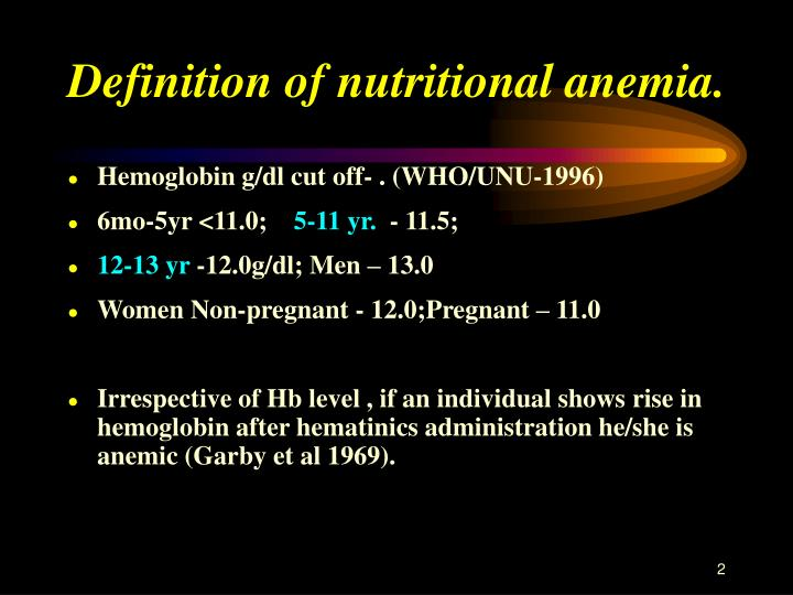 Definition of nutritional anemia