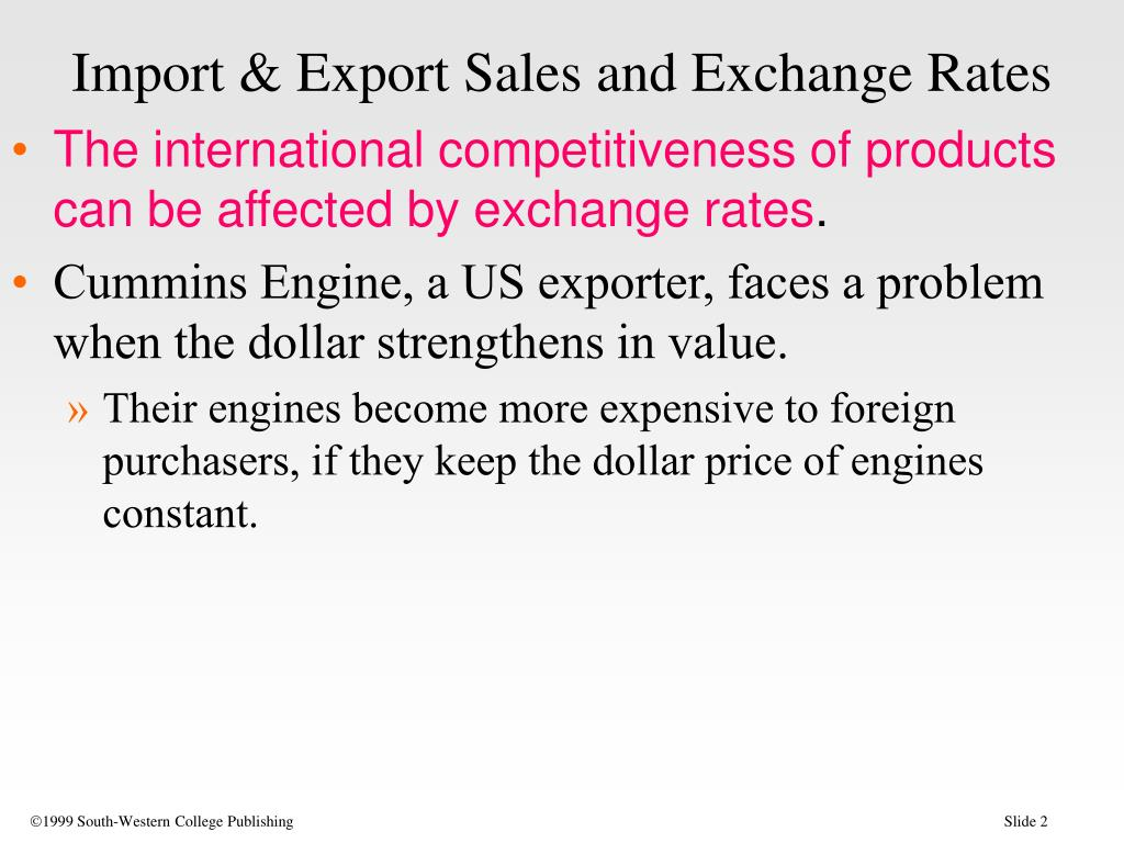 Import & Export Sales and Exchange Rates