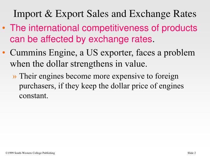 Import export sales and exchange rates