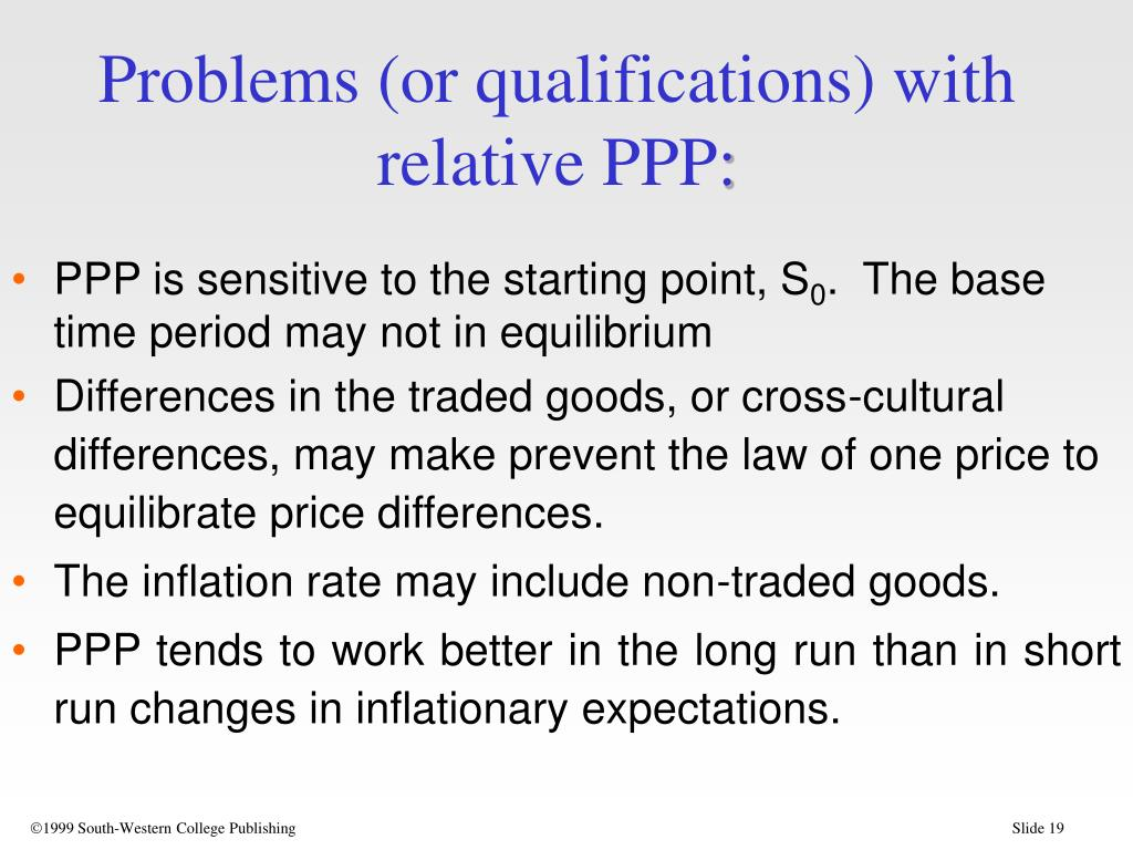 Problems (or qualifications) with relative PPP