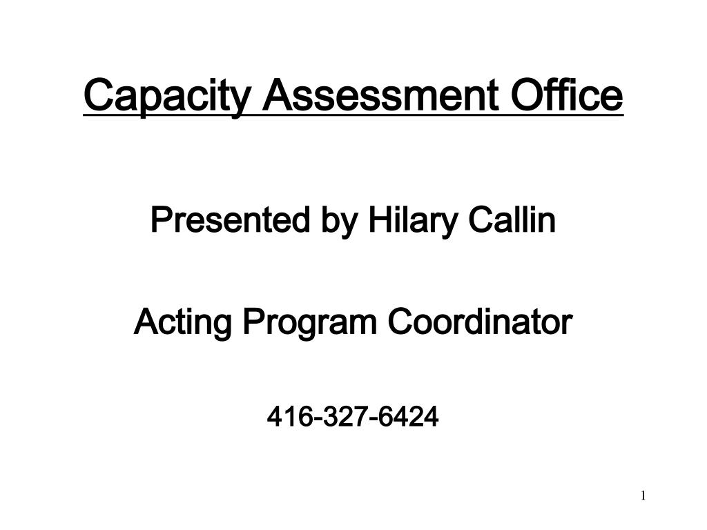capacity assessment office l.