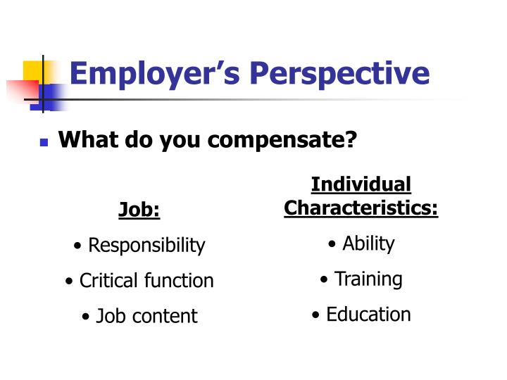 Employer s perspective