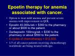 epoetin therapy for anemia associated with cancer