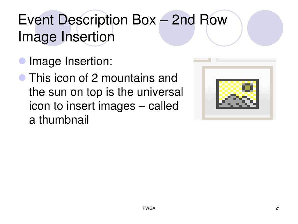 Event Description Box – 2nd Row