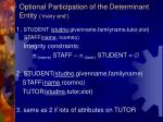 optional participation of the determinant entity many end27
