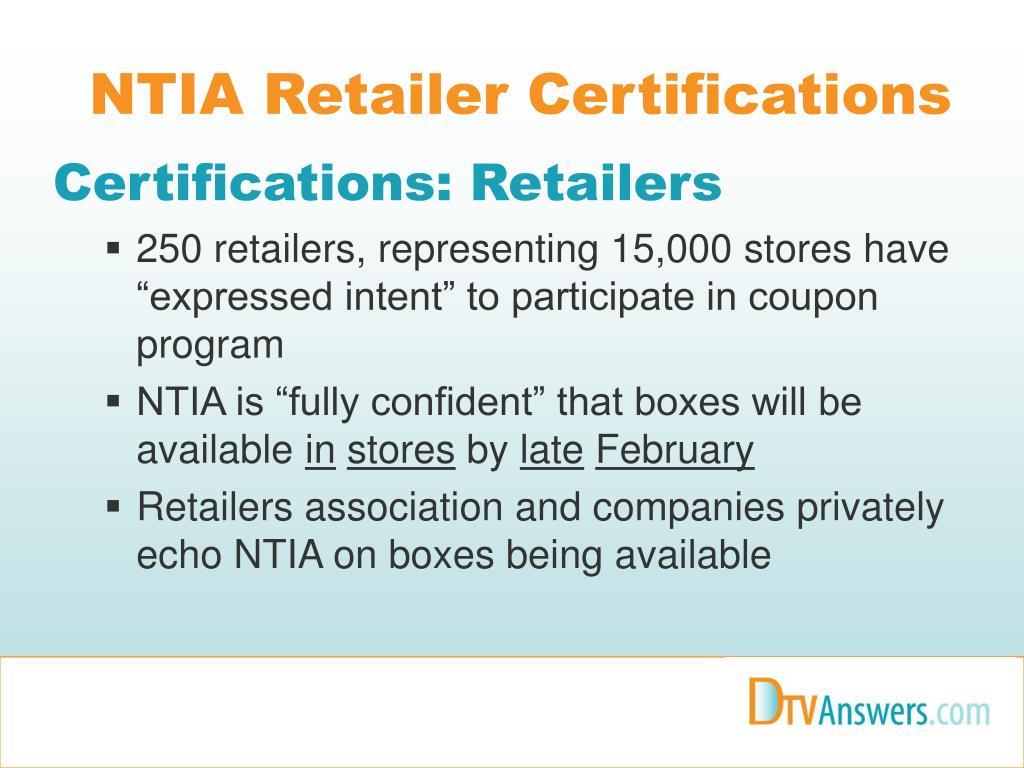 NTIA Retailer Certifications