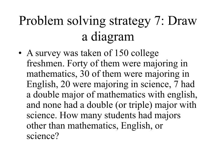 Problem solving strategy 7 draw a diagram