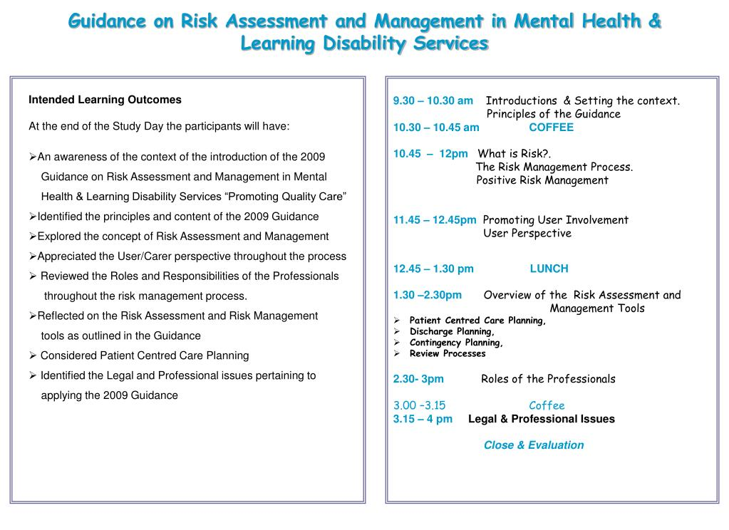 Guidance on Risk Assessment and Management in Mental Health & Learning Disability Services