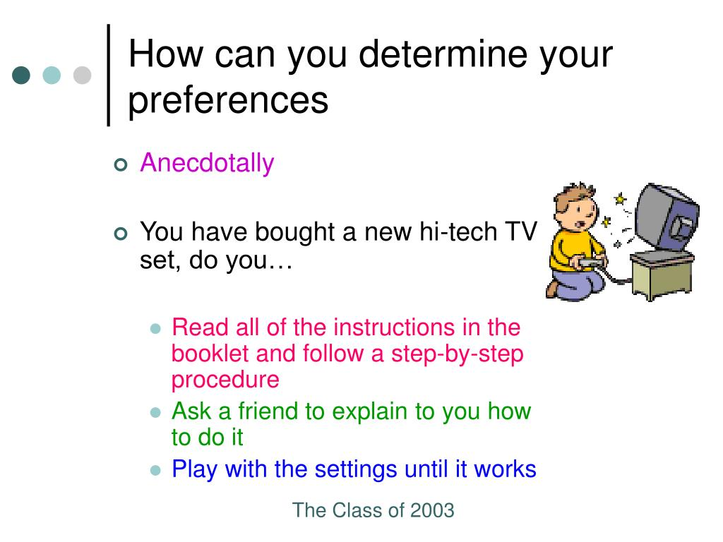 How can you determine your preferences