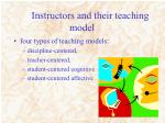 instructors and their teaching model