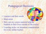 pedagogical decisions