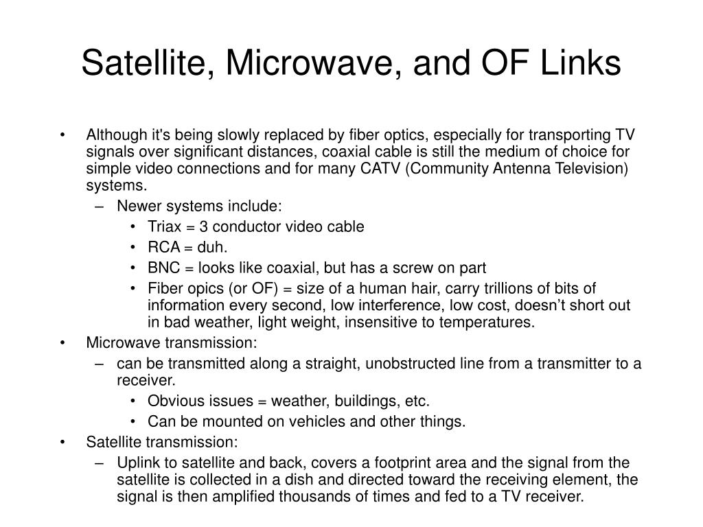 Satellite, Microwave, and OF Links