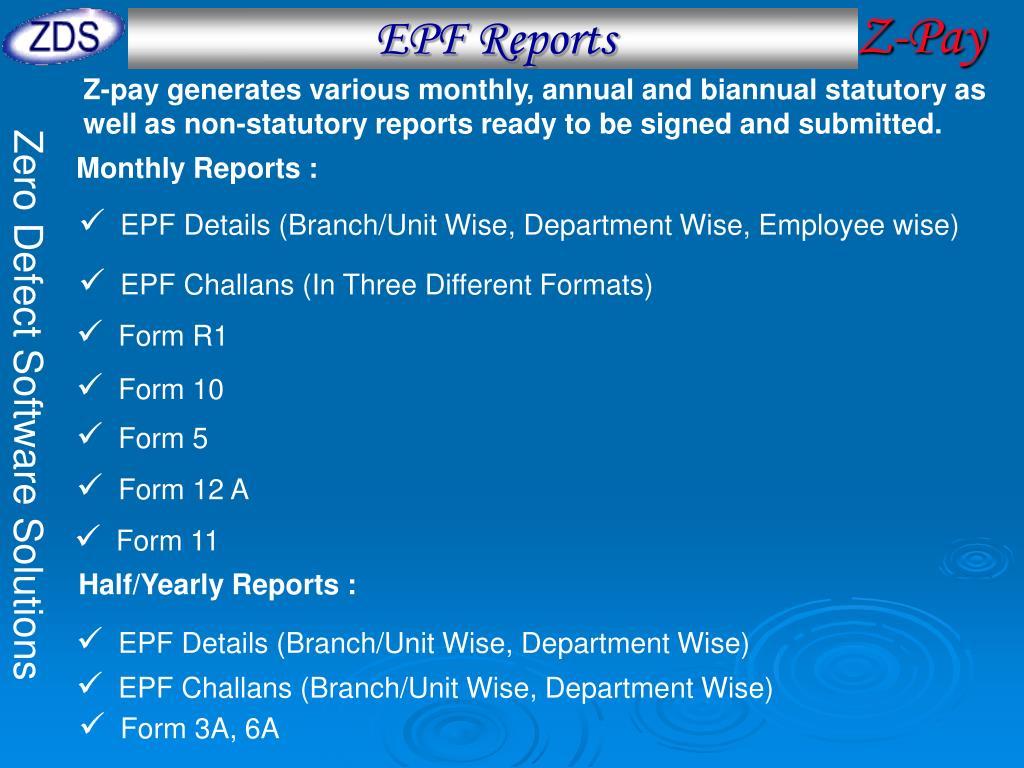EPF Reports