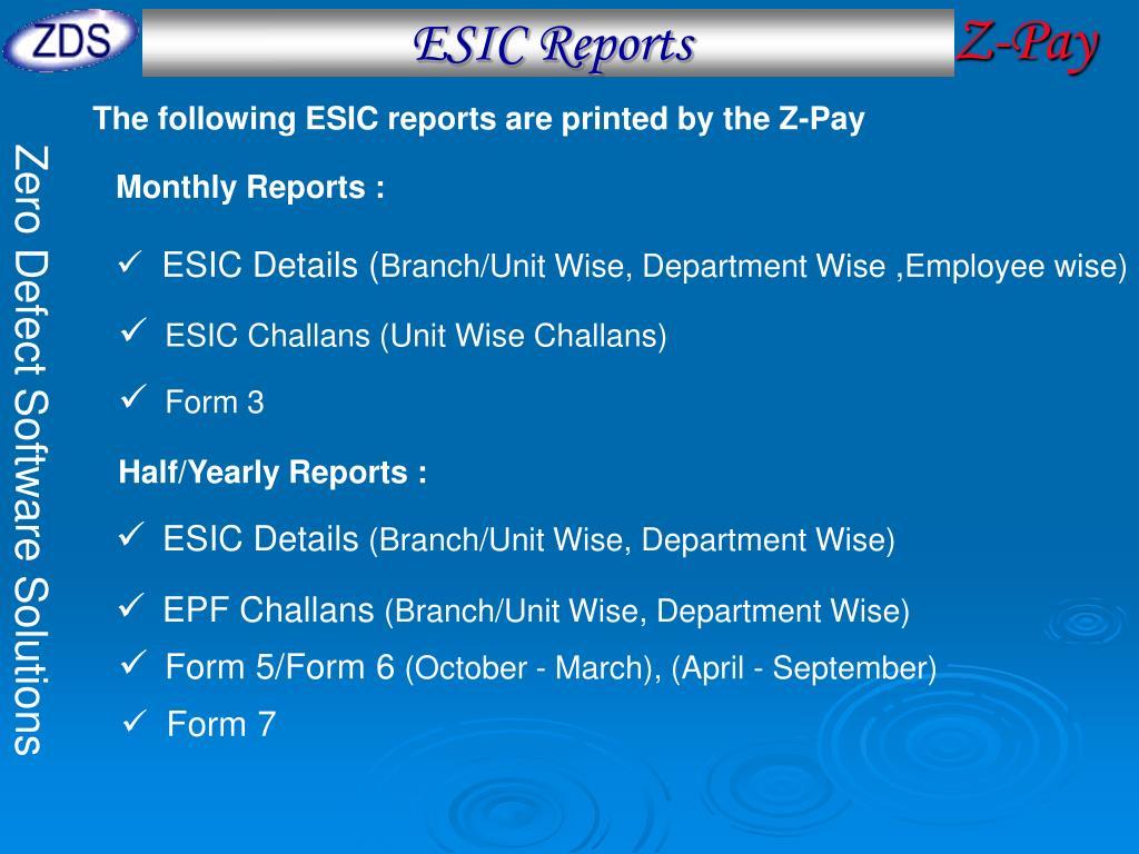 ESIC Reports