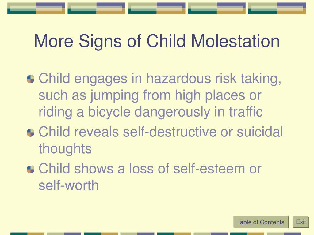 More Signs of Child Molestation