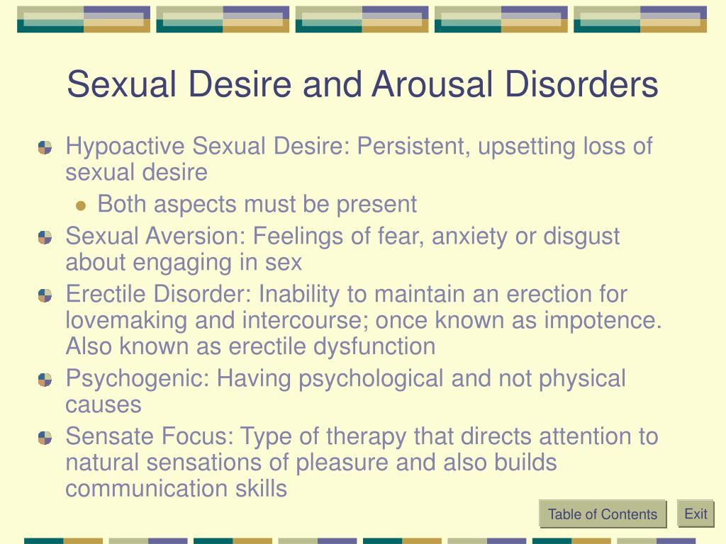 Sexual Desire and Arousal Disorders
