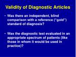 validity of diagnostic articles