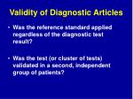 validity of diagnostic articles68