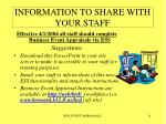 information to share with your staff