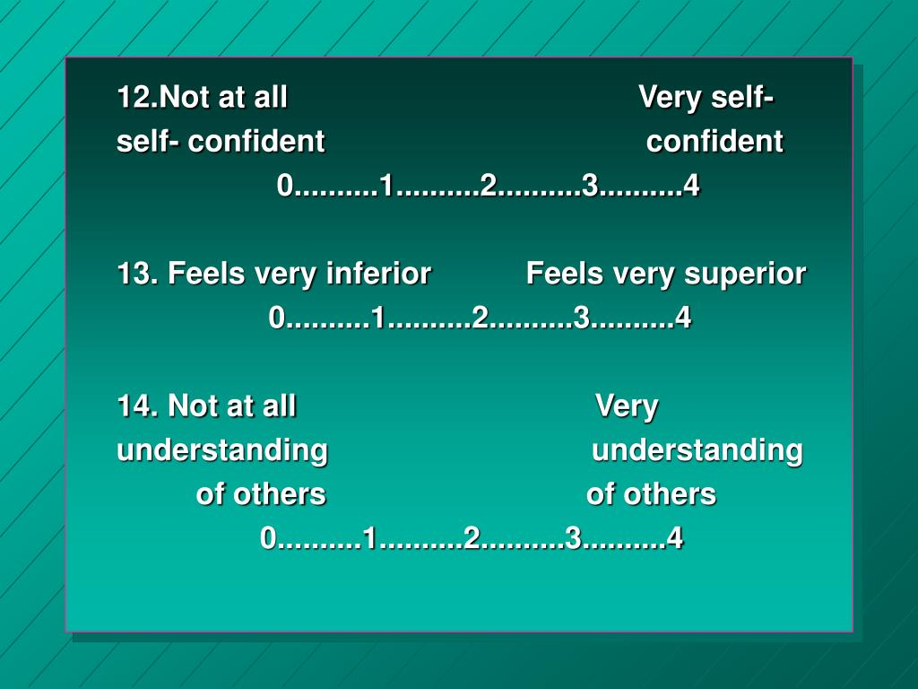 12.Not at all                                        Very self-