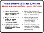 administrative goals for 2010 2011 metas administrativas para el 2010 2011