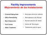 facility improvements mejoramiento de las instalaciones