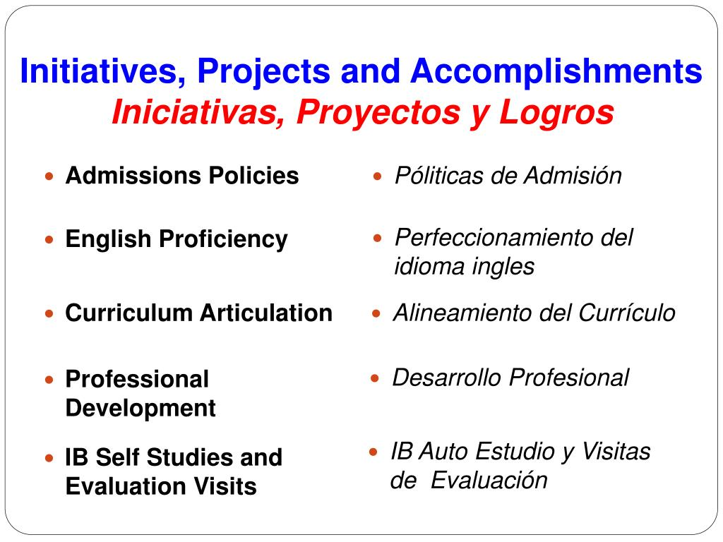 Initiatives, Projects and Accomplishments
