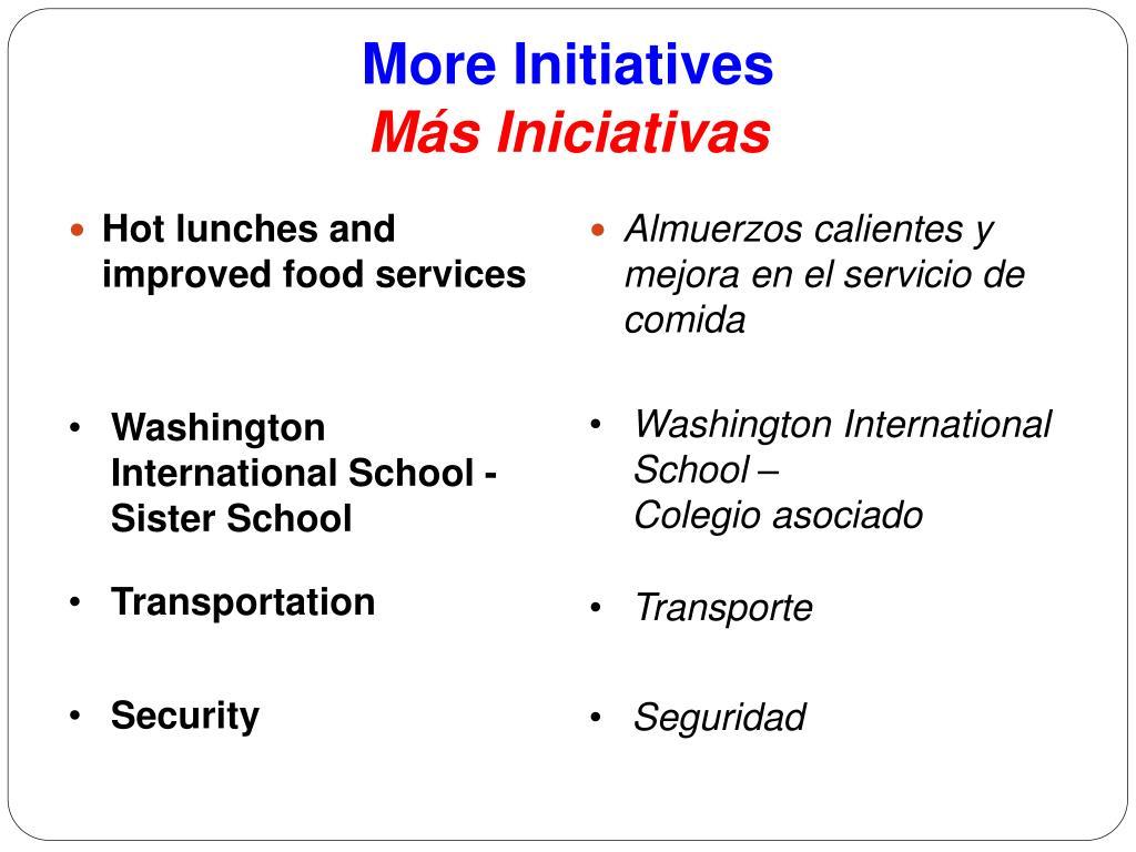 More Initiatives