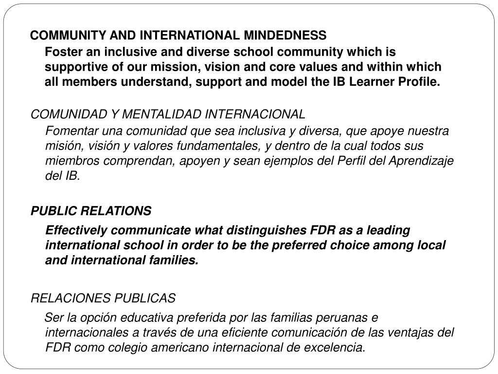 COMMUNITY AND INTERNATIONAL MINDEDNESS