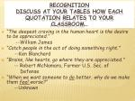 recognition discuss at your tables how each quotation relates to your classroom