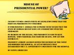 misuse of presidential power