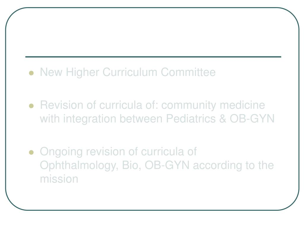 New Higher Curriculum Committee
