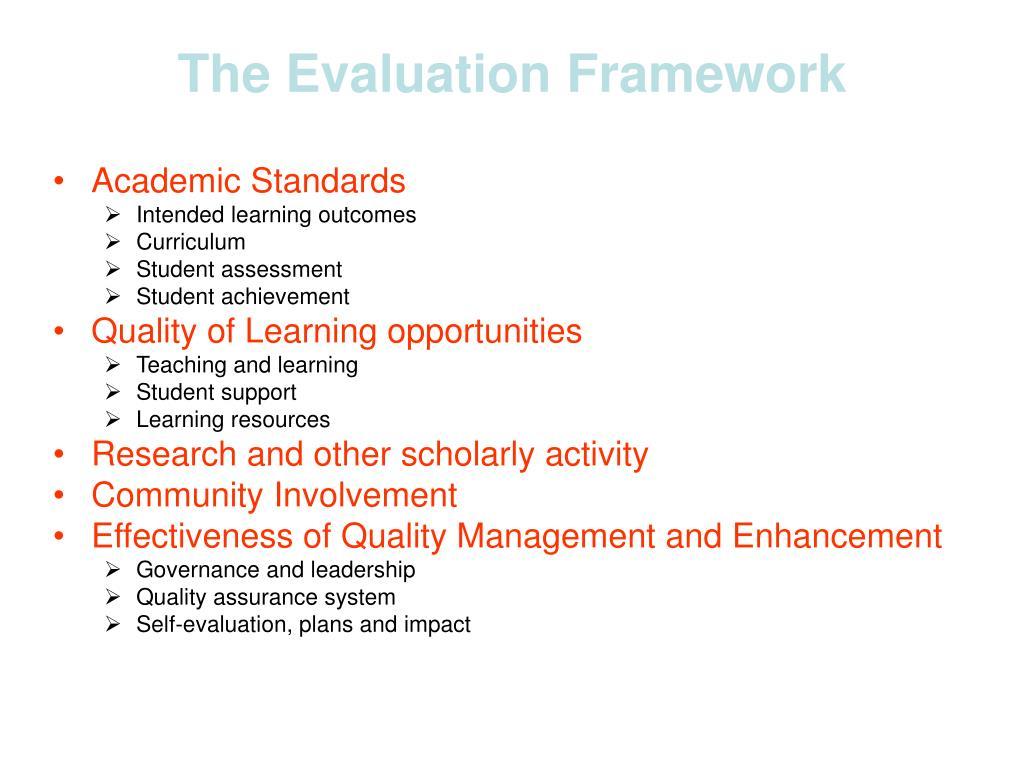 The Evaluation Framework