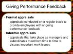 giving performance feedback