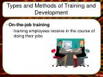 types and methods of training and development