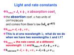 light and rate constants76